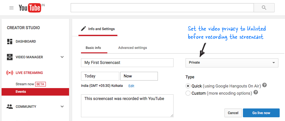 Create YouTube Screencast