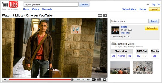 YouTube Movie Screen