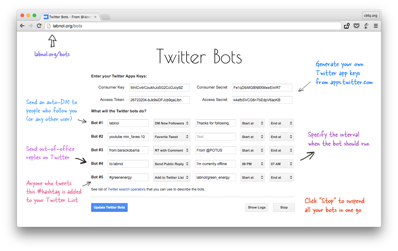 how to write your own twitter bots out code the bot will all tweets that match the search phrase and perform the associated action on those tweets