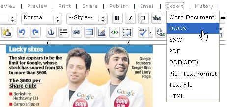 Convert Word 2003 Documents to  docx Online with Zoho Writer