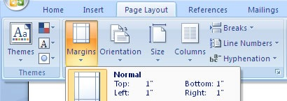 microsoft office word margins