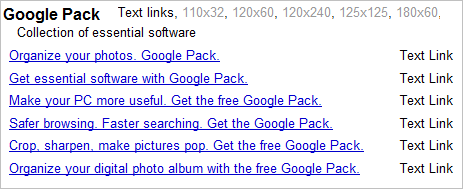 google-pack-options
