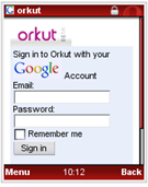orkut mobile website